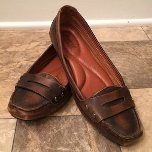 Born Brown Distressed Leather Penny Loafers Flats